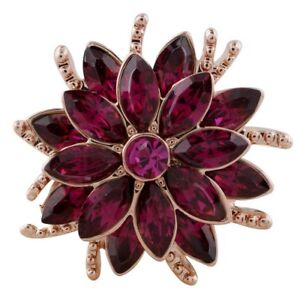 Rose Gold Purple Rhinestone Flower  20mm Snap Charm For Ginger Snaps Jewelry