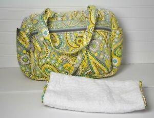 VERA BRADLEY Diaper Bag Lemon Parfait Floral Paisley - Faded Yellow Teal Gray