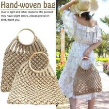 Hand Woven Women Bali Basket Vintage Rattan Straw Beach Mesh Shoulder Bag Purse
