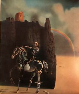 """Salvador Dali """"The Knight of Death """" Limited Edition Lithograph 1957 Very Rare"""