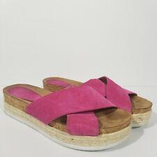 NINE WEST NWAMYAS Womens Size 10 Pink Suede Leather Espadrilles Flip Flop Sandal
