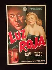 RED LIGHT (1949) *FILM NOIR * VIRGINIA MAYO * GEORGE RAFT * ARGENTINE 1sh POSTER