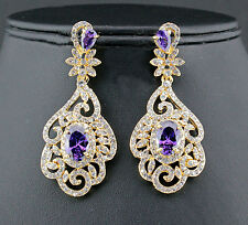 Exquisite Orchid Austrian Rhinestone CZ Chandelier Dangle Earrings E3513g Gold