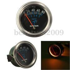 """2"""" 52mm Mechanical Fuel Oil Pressure Gauge Automotive Car Black Face 0~80 PSI"""