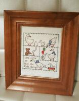 Framed Finished Embroidery Needlework Cross Stitch Nursery Baby Decor Gift Goose