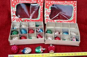 RARE 24 anciennes boule de noël en verre miniatures  /old christmas ornaments