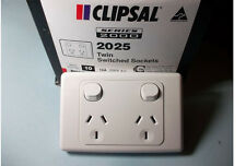 10 x Clipsal 2025 Double Power Point 10A GPO, Twin Switched Sockets White 2000