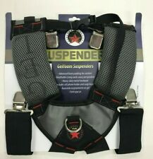 GelFoam Padded Suspenders for professionals Tool Works Belt Black/Red With Clip