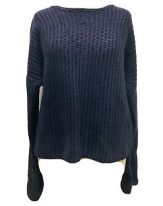 Designer ME+EM Navy Chunky Knit Cotton Jumper Short Relaxed Fit Weighty Top M