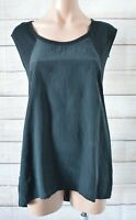 Thurley Tunic Top Blouse Size Small Black Sleeveless Silk