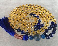 Citrine & Lapis Lazuli Mala Beads Necklace, Blue and Yellow Mala, Abundance Mala