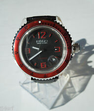 Ritmo Mvndo 312 Red Hercules Automatic Watch, Date, Black Dial, Leather Strap