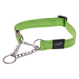 Rogz Dog Training Collar Reflective - Utility Fanbelt - Large 16-22in - Lime