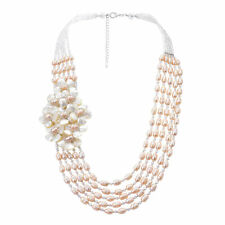 Graceful Pearl Shell and Crystal Bead Floral Cluster Statement Necklace