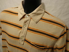 Banana Republic Brown Stripe Short Sleeve Polo Shirt Sz M 100% Pima Cotton