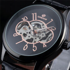 Leather Band Hand Winding Manual Casual Mens Mechanical Wrist Watch Full Black