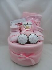 New baby girl nappy cake photo frame & tooth/curl box