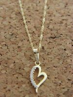 Real 14Kt Yellow Gold Heart Pendant  Necklace & Solid 14k gold ROPE 18inch Chain