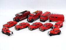 Brekina 1/87 HO - Lot de 11 véhicules Pompiers Feuerwehr : Mercedes - Magirus ..