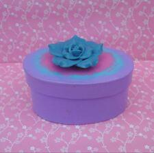 Handmade Blue Pink & Purple Paper Mache Trinket Jewelry Gift Box w/ Flower