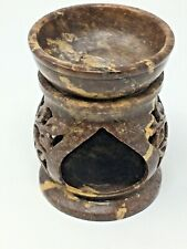 Wax & Oil Warmer Tea Light Candle Holder Brown Marble Ceramic Marbled Cutouts