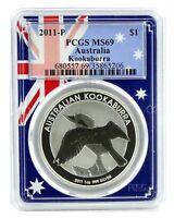 2011 Australia 1oz Silver Kookaburra PCGS MS69 - Flag Frame