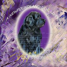 More details for newfoundland newfie dog lover new abstract hardboard plaque tile sandra coen