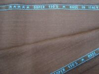 "5 yds DRAGO Luxury Wool Super 130s Fabric 8.5 oz Suiting Bark brown 182"" BTP"