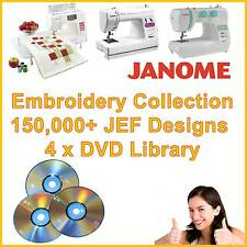 Janome JEF Machine Embroidery Design Library 4x DVD 150,000 Designs