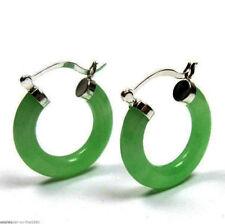 New Pair Natural Green Jade 925 Sterling Silver Hook Hoop Dangle Earrings