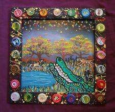SWAMP GATOR New Orleans Louisiana Outsider Folk Art Original Painting by DR. BOB