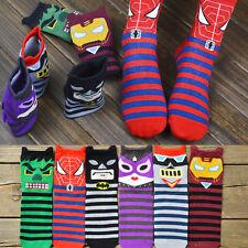 1pair Trendy Cartoon Unisex Women Man Super Hero Printed Cotton Ankle Warm Socks