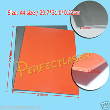 3pcs Grey & 3pcs Orange Silicone Rubber Sheet  for Laser Engraving 297×210×2.3MM
