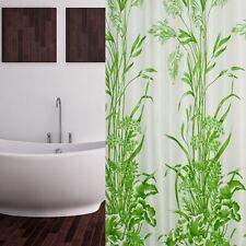 Cortina de ducha tela 240x200 Blanco Verde Patrón hojas incl. anillas 240 x