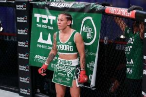 Cris Cyborg Used Bellator 259 Fight Night banner autographed vs. Leslie Smith