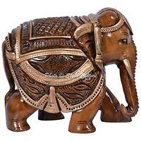 INDIAN ART SCULPTURE ORNAMENT WOODEN MEENAKARI ELEPHANT ANIMAL STATUE FIGURINE