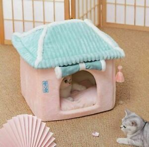 Cute Pet Dog Cat House Beds Tent Kennel Folded Indoor House Japanese Warm Soft