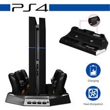 PS4 Controller Ladestation Konsole  Standfuß mit Kühler Lüfter+ 4x USB Anschluss