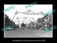 OLD LARGE HISTORIC PHOTO OF SHENANDOAH IOWA, VIEW OF THE MAIN ST & STORES c1920
