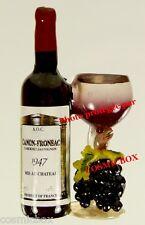 Magnet Bouteille de Vin Rouge CANON FRONSAC verre ballon aimant grappe raisin