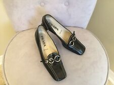 Vtg Auth Prada Block Heel Square Toe Black Leather Loafer Shoes 38.5 Us 8.5 $425
