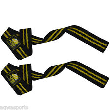 AQWA Weight Lifting Bar Straps Gym Training Power Wrist Support Hand Grip Yellow