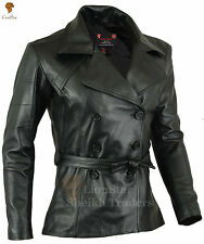 Ladies Retro Stylish Belted Steampunk Vintage Edwardian Trench Real Leather Coat