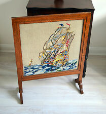 Vintage Fire Screen Guard Oak Wood Framed Handmade Tapestry Sailing Boat Sea
