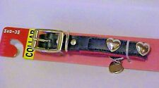 Dog Collar Medium Size Pet Black With Silver Heart Studded Charm