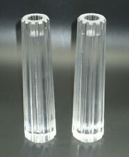 """TIFFANY & CO. RIBBED LEAD CRYSTAL TALL CANDLESTICKS PAIR - RETIRED - NO BOX (8"""")"""