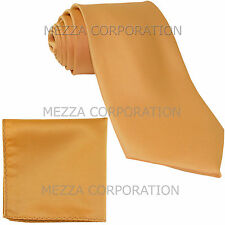 New formal men's necktie & hankie set solid color polyester party prom gold