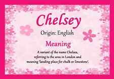 Chelsey Personalised Name Meaning Certificate