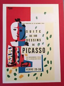 PABLO PICASSO, 1954 15 October Vintage,Poster,1957 Offset Lithograph Platesigned