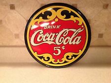 "Coca Cola Tin Litho Sign 5 Cents 12"" Round Diameter Wall Decor Bar Very Nice"